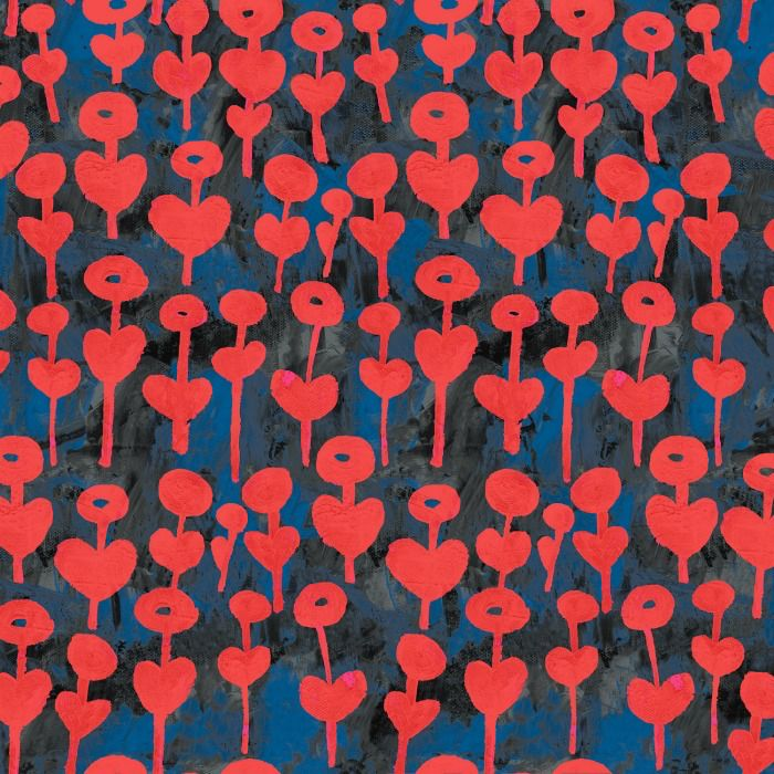 Cotton + Steel Once Upon a Time, Love Flower in Red, Fabric Half-Yards OE101-RE3