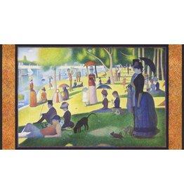"""Robert Kaufman ON SALE-Seurat, Sunday Afternoon on the Island of la Grande Jatte 1886, 24"""" Fabric Panel SRKD-18469-269 Park"""