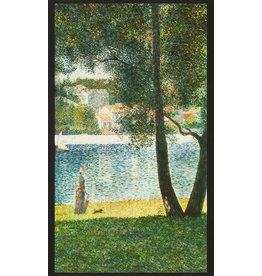 """Robert Kaufman Seurat, Seine at Courbevoie 1884, 24"""" Fabric Panel SRKD-18472-268 Nature"""
