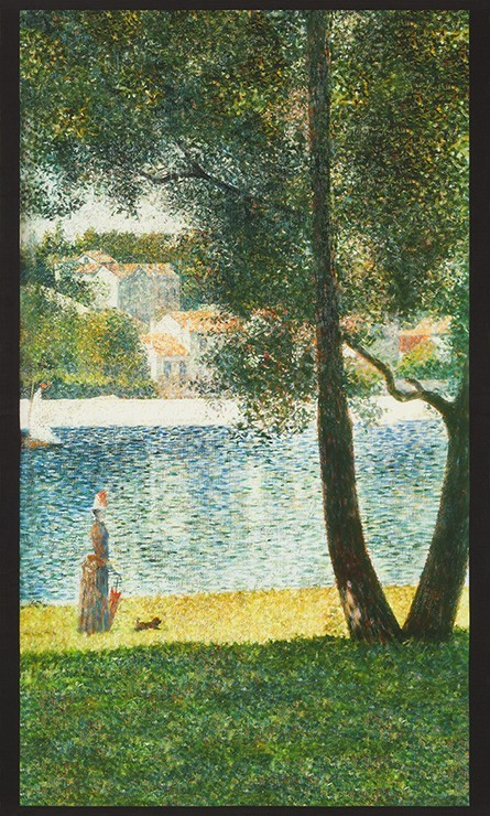"Robert Kaufman Seurat, Seine at Courbevoie 1884, 24"" Fabric Panel SRKD-18472-268 Nature"