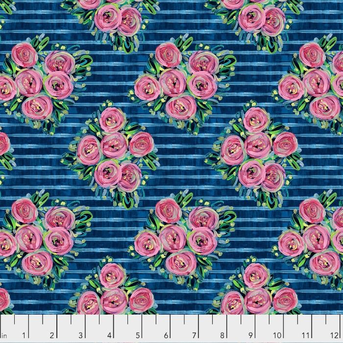 Jennifer Paganelli St. John, Lucia in Blue, Fabric Half-Yards PWJP148