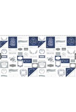 "Rae Ritchie ON SALE-Love You to the Moon, Labels in Indigo and White, 24"" Fabric Panel PSTELLA-SRR1131 (panel remaining was store sample)"
