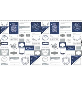 "Rae Ritchie ON SALE-Love You to the Moon, Labels in Indigo and White, 24"" Fabric Panel PSTELLA-SRR1131"
