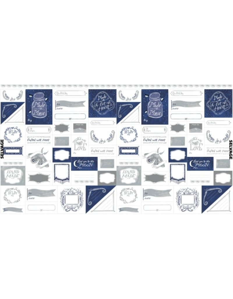 """Rae Ritchie Love You to the Moon, Labels in Indigo and White, 24"""" Fabric Panel PSTELLA-SRR1131"""