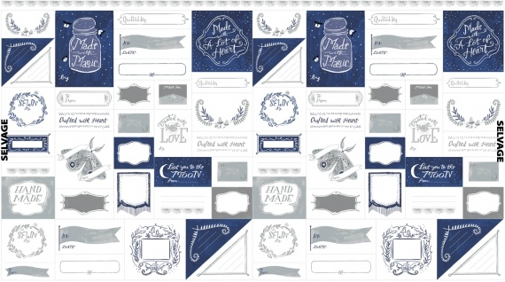 "Rae Ritchie Love You to the Moon, Labels in Indigo and White, 24"" Fabric Panel PSTELLA-SRR1131"