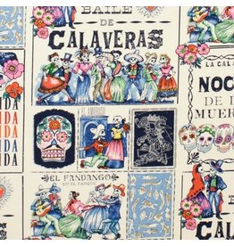 Alexander Henry Fabrics Folklorico, Baile de Calaveras in Tea and Marine, Fabric Half-Yards 7924C