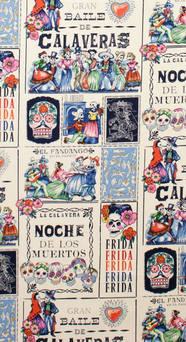 Alexander Henry Fabrics Folklorico, Baile de Calaveras in Tea and Marine, Fabric Half-Yards 7924C