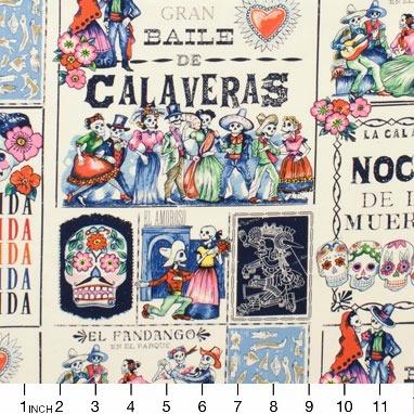PD's Alexander Henry Collection Folklorico, Baile de Calaveras in Tea and Marine, Dinner Napkin