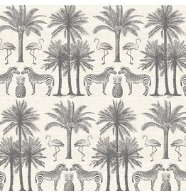 Andover Fabrics ON SALE-Fern Garden, Palm In Grey, Fabric full-Yards TP-2073-S