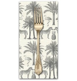 PD's Andover Collection Fern Garden, Palm in Grey, Dinner Napkin