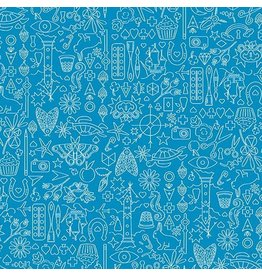 "Alison Glass Sun Print, Collection in Sailboat, Fabric Half-Yards A-9036-B (ONE 14"" PIECE REMAINING)"