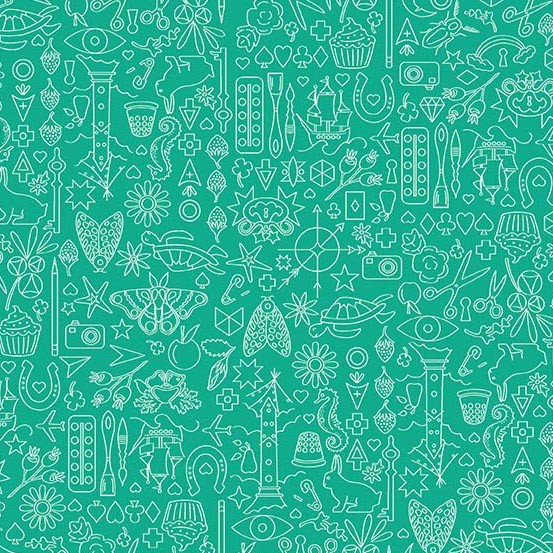 PD's Alison Glass Collection Sun Print 2019, Collection in Turtle, Dinner Napkin