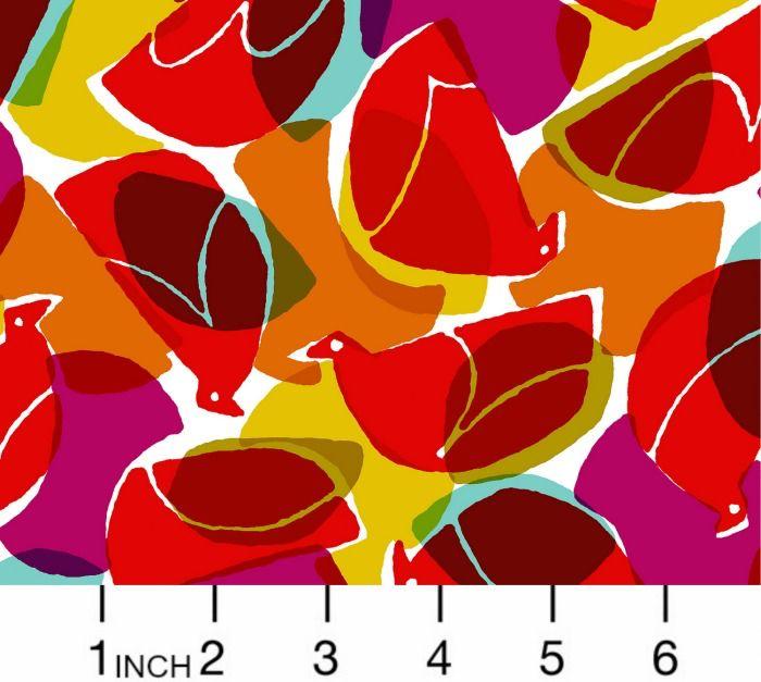 Cotton + Steel Rayon, Safari, Tweet in Ruby, Fabric Half-Yards MS103-RU3R