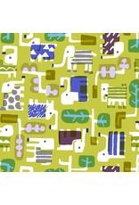 Cotton + Steel Safari, Elephant Walk in Leaf, Fabric Half-Yards MS100-LE1