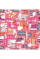 Cotton + Steel Safari, Elephant Walk in Coral, Fabric Half-Yards MS100-CO2