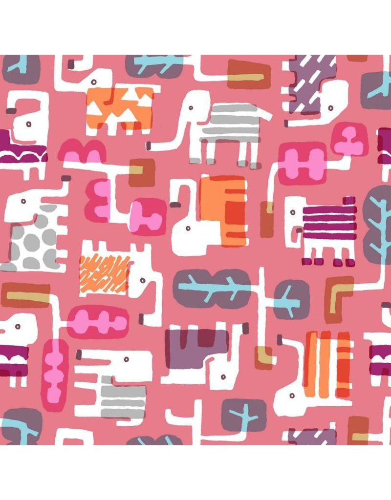 Cotton + Steel Safari, Elephant Walk in Coral, Fabric Half-Yards MS100-CO2