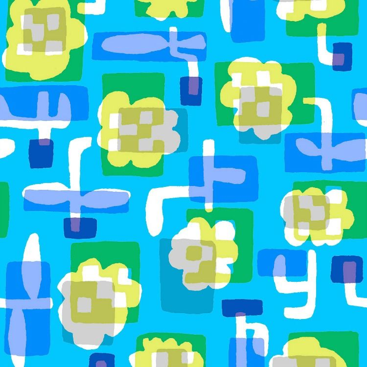 Cotton + Steel Safari, Flower Box in Blue, Fabric Half-Yards MS104-BL2