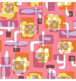 Cotton + Steel Safari, Flower Box in Coral, Fabric Half-Yards MS104-CO1