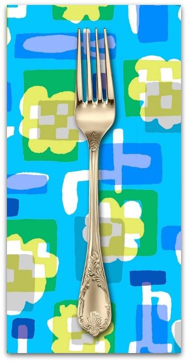PD's Cotton + Steel Collection Safari, Flower Box in Blue, Dinner Napkin