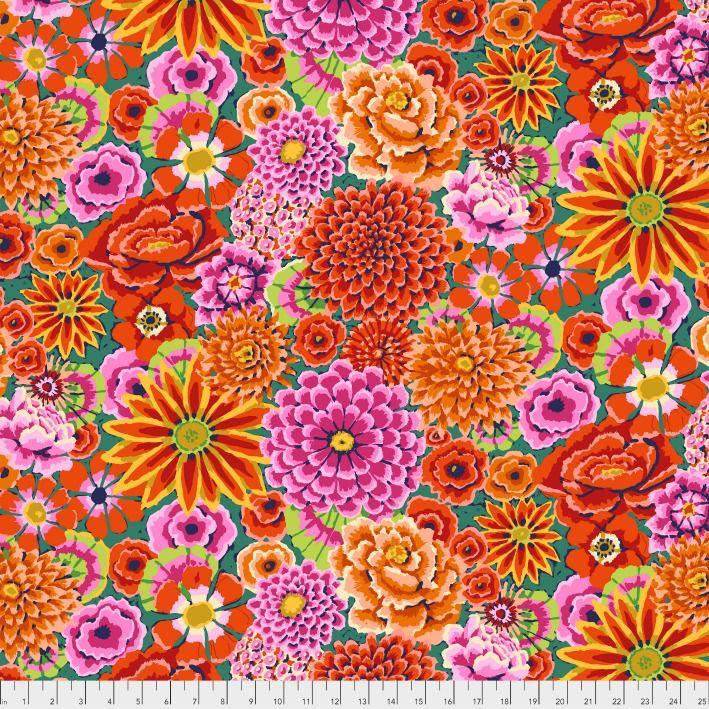 Kaffe Fassett Kaffe Collective, Enchanted in Red, Fabric Half-Yards PWGP172