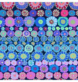 Kaffe Fassett Kaffe Collective 2019, Row Flowers in Blue, Fabric Half-Yards PWGP169