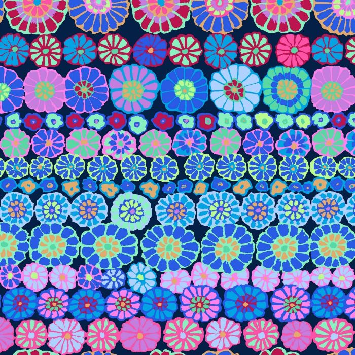 Kaffe Fassett Kaffe Collective, Row Flowers in Blue, Fabric Half-Yards PWGP169