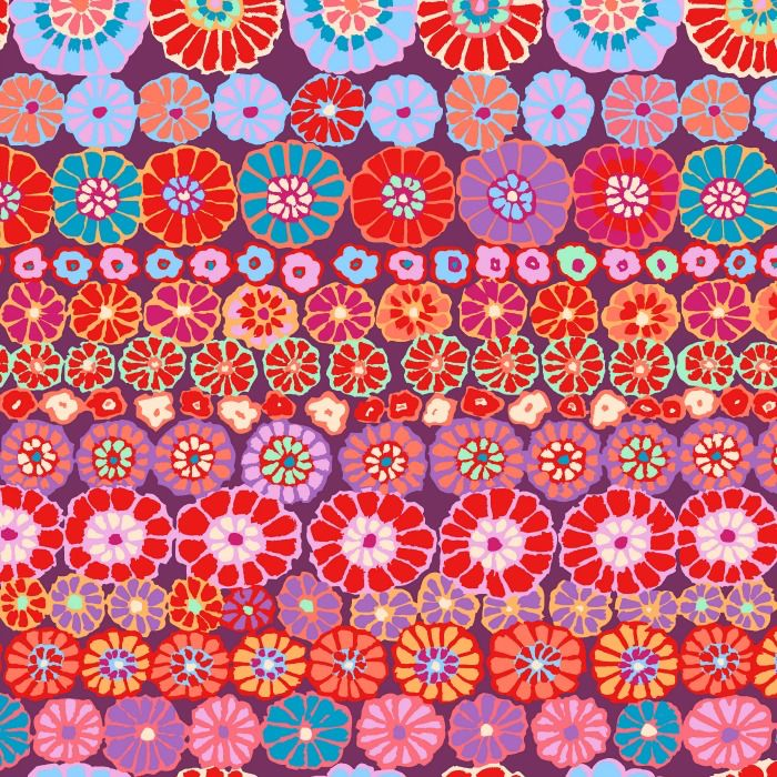 Kaffe Fassett Kaffe Collective 2019, Row Flowers in Red, Fabric Half-Yards PWGP169