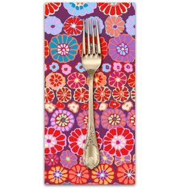 PD's Kaffe Fassett Collection Kaffe Collective, Row Flowers in Red, Dinner Napkin
