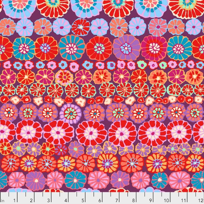 PD's Kaffe Fassett Collection Kaffe Collective 2019, Row Flowers in Red, Dinner Napkin