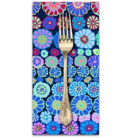 PD's Kaffe Fassett Collection Kaffe Collective 2019, Row Flowers in Blue, Dinner Napkin