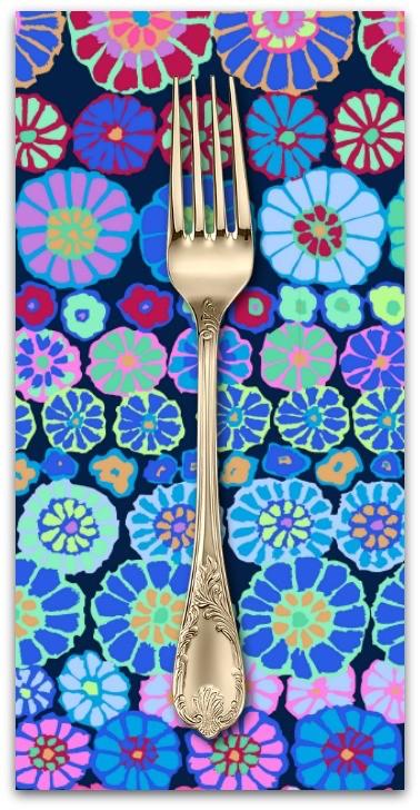 PD's Kaffe Fassett Collection Kaffe Collective 2019, Row Flowers in Blue, Dinner Napkin