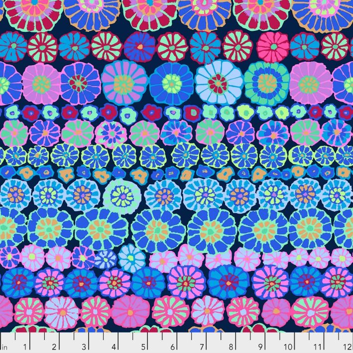 PD's Kaffe Fassett Collection Kaffe Collective, Row Flowers in Blue, Dinner Napkin