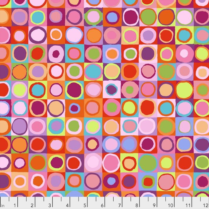PD's Kaffe Fassett Collection Kaffe Collective 2019, Tiddlywinks in Red, Dinner Napkin
