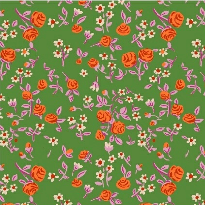 Heather Ross Trixie, Mousies Floral in Kelly, Fabric Half-Yards 50898