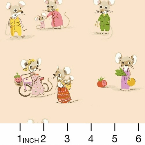 Heather Ross Trixie, Country Mouse in Blush, Fabric Half-Yards 50897