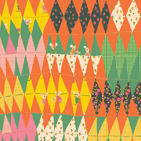 Heather Ross Trixie, Trixie Collage in Green, Fabric Half-Yards 50896