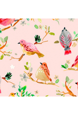 August Wren Daybreak, Birds on Branches in Blush, Fabric Half-Yards STELLA-DAW1164