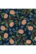Rifle Paper Co. Linen/Cotton Canvas, Wildwood, Peonies in Blue RP102-BL4C, Fabric Half-Yards