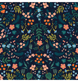 Rifle Paper Co. Wildwood, Wildwood in Navy with Metallic, Fabric Half-Yards RP105-NA2M