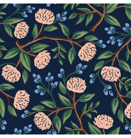 Rifle Paper Co. Wildwood, Peonies in Navy, Fabric Half-Yards RP102-NA2