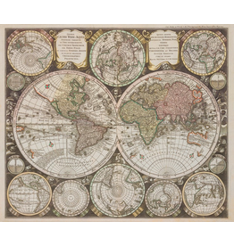 "Robert Kaufman Vintage Blueprints Digital, World Map in Parchment, 36"" Fabric Panel SRKD-18373-265"