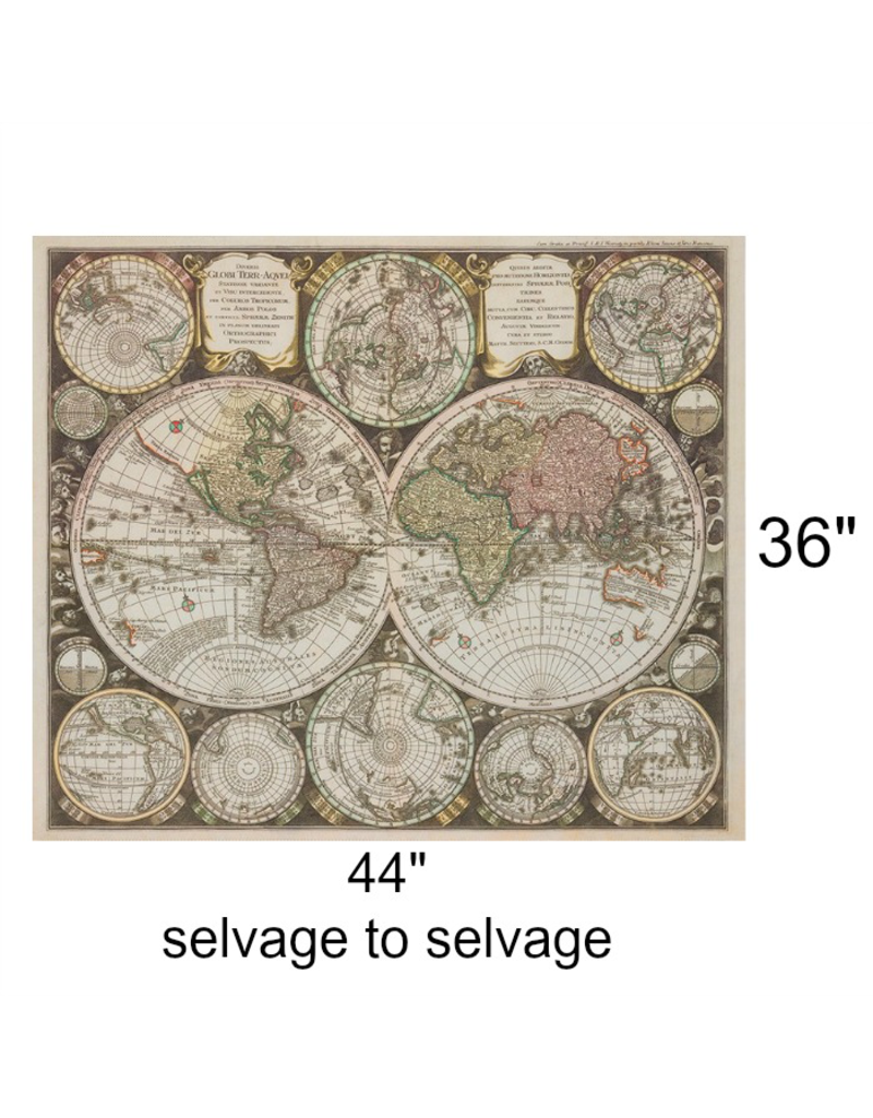 "Robert Kaufman Vintage Blueprints Digital, World Map in Parchment, 36"" Fabric Panel SRKD-18373-265"