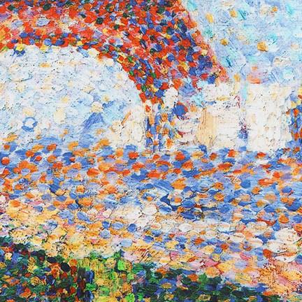 "Robert Kaufman Seurat, The Eiffel Tower 1889, Panel in Park, 24"" Fabric Panel SRKD-18475-205- Multi"