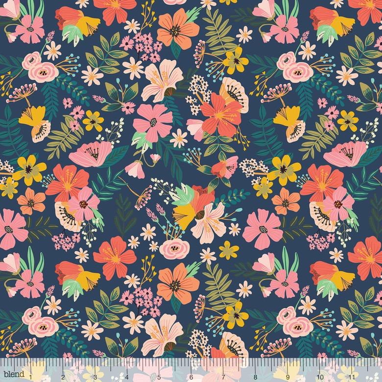 Mia Charro Floral Pets, Gardenara in Navy, Fabric Half-Yards 129.101.03.1