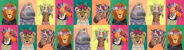 Mia Charro Junglemania, Wildflowers in Multi, Fabric Half-Yards 129.102.01.1