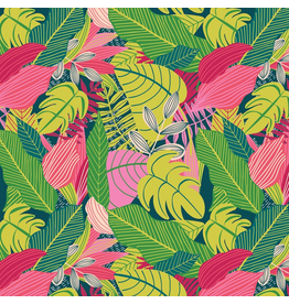 "Mia Charro Junglemania, Jungle in Pink, Fabric Half-Yards 129.102.02.1  (ONE 30"" CUT REMAINING)"