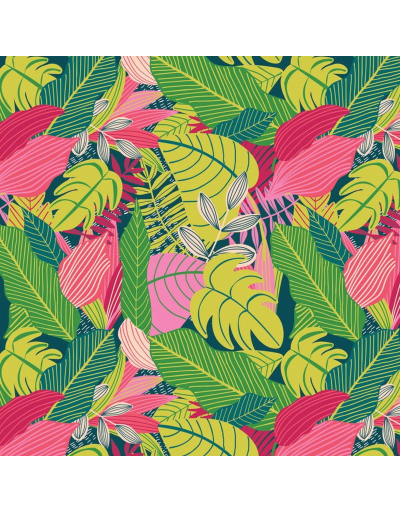 "Mia Charro Junglemania, Jungle in Pink, Fabric Half-Yards 129.102.02.1  (ONE 30"" CUT REMAINING)"