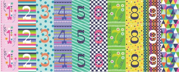 Maude Asbury Hip Hip Hooray, 3 Cheers in Multi, Fabric Half-Yards 101.145.03.1 Birthday