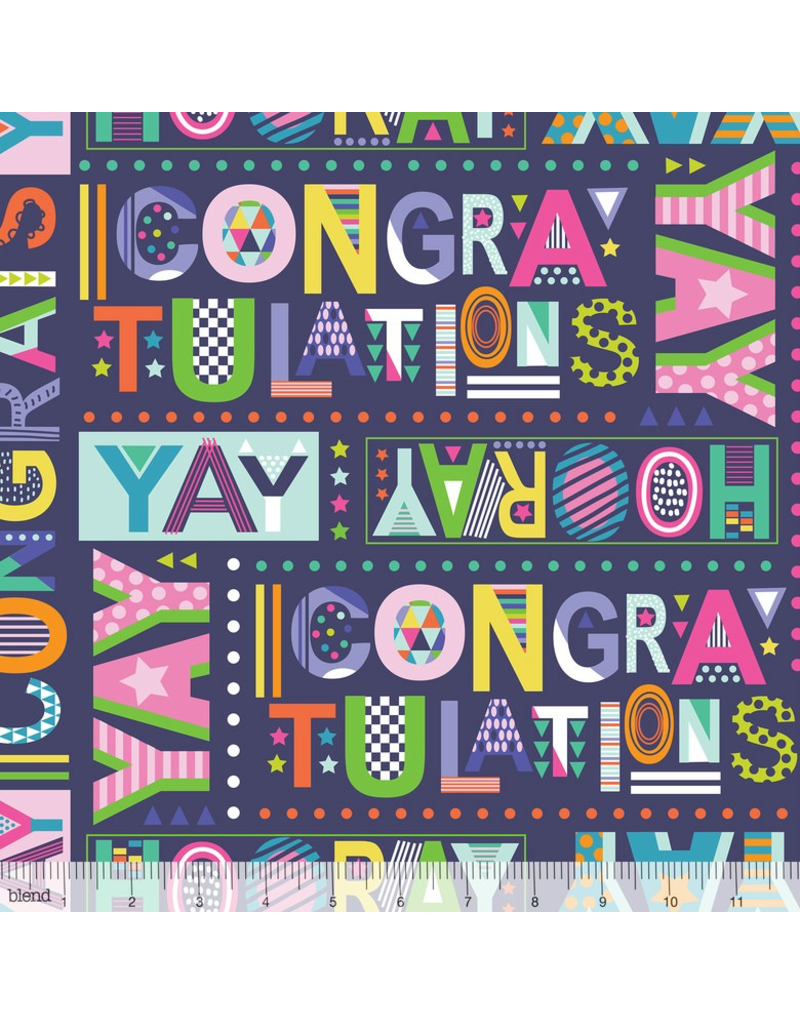 PD's Blend Fabrics Collection Hip Hip Hooray, Best Wishes in Navy, Birthday Dinner Napkin