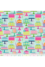 Maude Asbury Hip Hip Hooray, Piece of Cake in Aqua, Fabric Half-Yards 101.145.03.1 Birthday